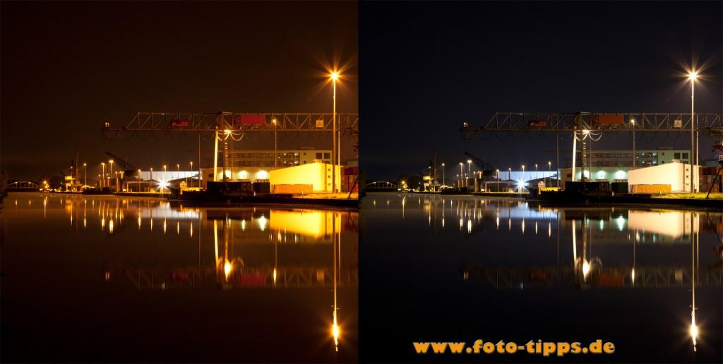 Tageslicht VS Kunstlicht, Vergleich Weißabgleich